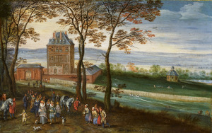 Landschap met het slot Mariemont in Henegouwen met op de voorgrond het aartshertogelijke paar Albrecht en Isabella met gevolg
