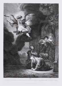 Tobie et sa famille prosternés devant l'ange qui disparait a leurs yeux