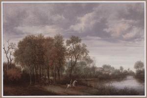 Boslandschap met ruiter en kar op een landweg langs een riviertje