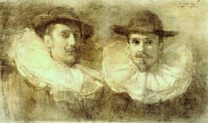Portret van Piet Slager (1871-1938) en Frans Slager (1876-1953)