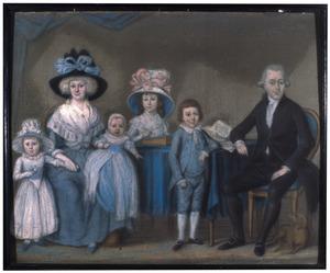 Familieportret van Lambert Engelbert van Eck (1754-1803), Charlotte Amelie Vockestaert (1759-1824) en hun kinderen Otto Cornelis van Eck (1780-1798), Theodora Hendrika van Eck (1782-1831), Jacoba Barbara Maria van Eck (1786-1875) en Adriana van Eck (1787-1787)