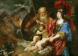 Minerva en Saturnus beschermen de kunst en wetenschap