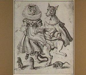 Dansende kat en hond, aangekleed als mens