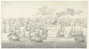 De Slag bij Solebay, 7 juni 1672, even na twee uur in de middag, gezien vanuit het noordwesten
