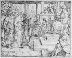 Suzanna voor de rechter beschuldigd door de ouderlingen (Daniël 13:28-41)