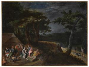 Landschap met een overval op de Heilige Familie tijdens de rust op de vlucht naar Egypte. In de achtergrond een overval op een reiziger