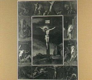 Christus aan het kruis, omringd door twaalf scènes met de martyria der twaalf apostelen