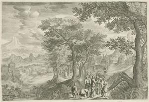 Landschap met Christus en de bloedvloeiende vrouw (Mattheus 9: 20-22; Marcus 5: 25-34; Lukas 8: 43-48)