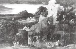 Landschap met scènes van de verzoeking van de heilige Antonius