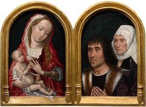 Maria met kind (binnenzijde linkerluik), twee stichtersportretten (binnenzijde rechterluik)