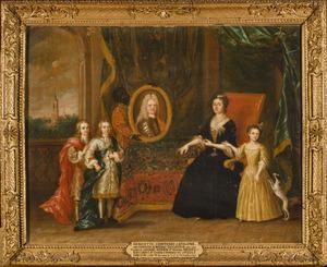 Familieportret van Henriette des H.R. Rijksgravin van Nassau-Zuylestein (1688-1759) met haar drie kinderen en een bediende
