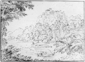 Italianiserend heuvellandschap met dorp op een rots