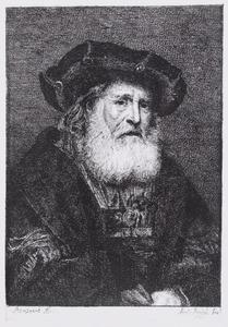 Oude man met baard en zwarte baret