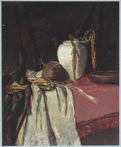 Stilleven met aardewerk en slippers