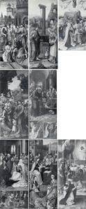 De opwekking van Lazarus; Christus in gesprek met de Samaritaanse (voorzijde), de hemelvaart van Christus (achterzijde van Christus in gesprek met de Samaritaanse); de wonderbare broodvermenigvuldiging (voorzijde), Christus voor Caiphas, de annunciatie, de visitatie (achterzijde van de wonderbare broodvermenigvuldiging); Christus en de Farizeeërs? bijna volledig vernietigd (voorzijde), Pinksteren: de uitstoring van de Heilige Geest, de kindermoord te Bethlehem, de twaalfjarige Jezus in de tempel (achterzijde van Christus en de Farizeeërs); de H. Maagschap; de Mis van Gregorius met twee stichters