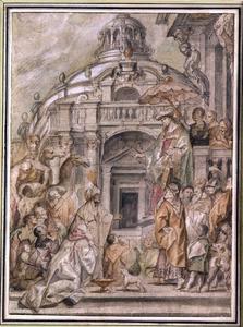 Kalief Haroen Al-Rashid betuigt zijn eer aan Karel de Grote