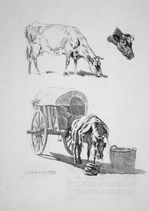 Studie van koeien en paard met kar