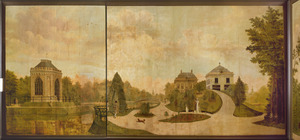 Landschap met Gotische kapel en gezicht op het park van een buitenplaats