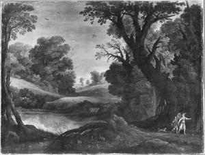 Boslandschap met Tobias en de engel op weg naar Ekbatana