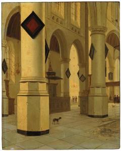 Gezicht van interieur St. Bavokerk te Haarlem van zuidoost naar noordoost
