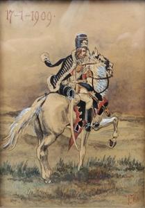 Cavalerist schietend met zijn pistool