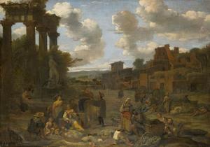 Figuren in een klassiek landschap met ruïnes