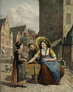 Fruitverkoopster op de Ganzenmarkt te Utrecht