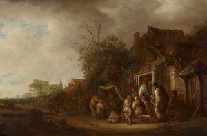 Gezicht op een markt in een dorpsstraat, met een draailierspeler
