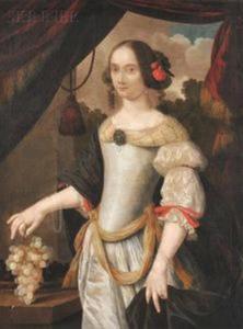 Portret van een vrouw die druiven vasthoudend