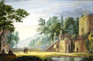 Arcadisch parklandschap met fantasiearchitectuur en figuren
