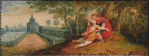 Kunstkastje beschilderd met taferelen uit de klassiek mythologie: Cephalus doodt per ongeluk Procris (Ovidius VII: 661)