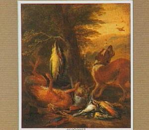 Jachtstilleven onder een boom, bewaakt door een blaffende hond