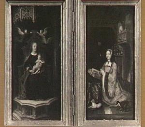Maria met kind gekroond door twee engelen (links); portret van Margaretha van Oostenrijk (rechts)
