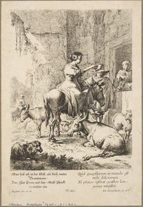 Herderin gezeten op een ezel met herder, ezels en schapen bij de ingang van een herberg
