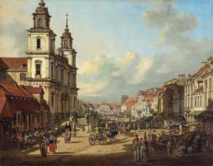 Gezicht op de Heilig Kruiskerk in Warschau
