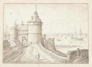 Westpoort of Gevangenpoort  te Vlissingen met uitzicht op de Westerschelde