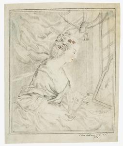 vrouw met waaier en spiegel