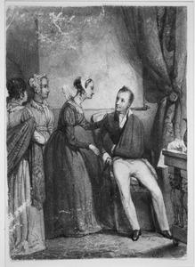 Koningin Frederika van Pruissen bezoekt prins Willem die op 18 juni 1815 gewond was geraakt tijdens de slag bij Waterloo
