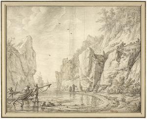 Rotsbaai met vissers