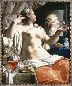 Lascivia:  een in de spiegel kijkende vrouw of wel een allegorie op de wellustigheid