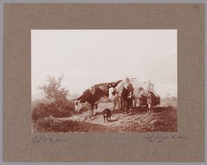 Boerin met koeien een ezel en een hond
