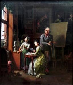 Zelfportret van de kunstenaar met zijn beide dochters