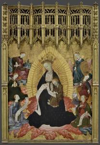 Tronende Maria en kind met de kardinale deugden