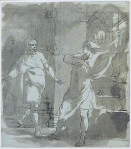 Twee gebarende mannen in een interieur