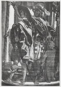 Fragment van een voorstelling met een ruiter die een levade uitvoert in de aanwezigheid van Mercurius, Mars en een rijmeester