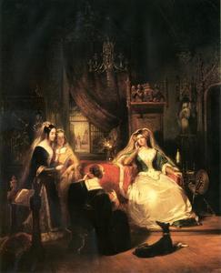 Jacoba van Beieren met Bertha en haar staatsdames
