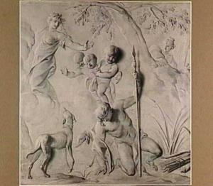 Narcissus wordt verliefd op zijn eigen spiegelbeeld, terwijl Echo hem bespiedt.