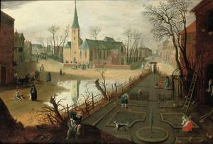 Allegorie op de maand februari; dorpsgezicht met boeren aan het werk in een tuin