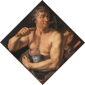 Portret van Jan Govertsen van der Aer als Vulcanus in zijn smidse