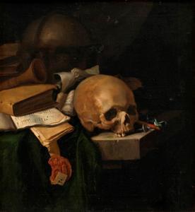 Vanitasstilleven met boeken, globe en schedel